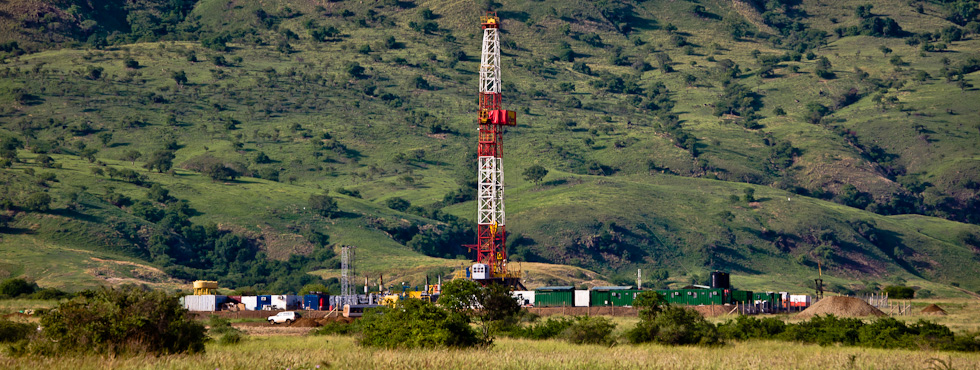 Drilling in the Albertine rift valley in Uganda